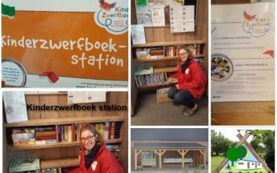 Kinderzwerfboekstation op Camping De Lage Werf.