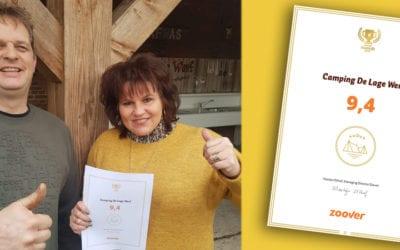 Camping De Lage Werf wint 3 jaar op rij een Gouden Zoover Award!